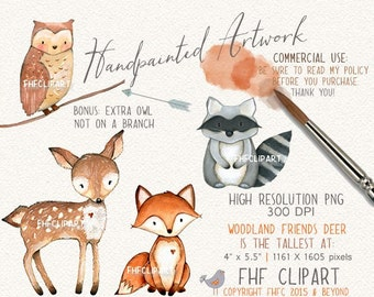 Woodland Animals Digital Clip Art | Raccoon Fox Owl Deer Forest Friends Digital Clipart | Personal & Commercial Use | Use in invitations etc