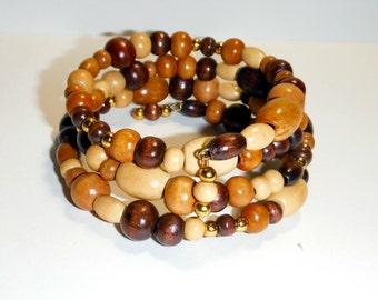 Clearance, wood beaded Wrap Bracelet, Beaded Bracelet, Boho Bracelet, Beaded Wrap Bracelet, Bracelet