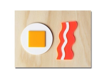 Egg & Bacon Poster (Perspex on Ply), Funny and Unique Kitchen Home Art, Breakfast Poster, Housewarming Gift.