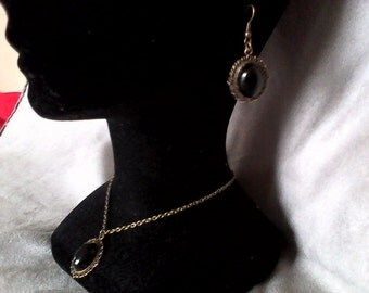 Ornament BLACK ONYX pendant, earrings ears (+ offered ring)