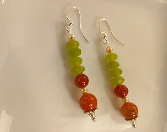 Green Jade and Carnelian Earrings