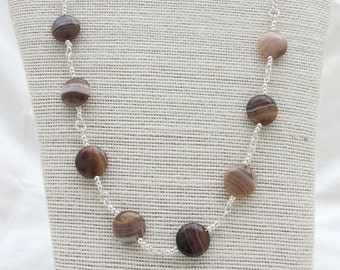 Agate necklace and earring set