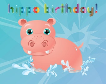 Personalised and Printable Hippo Birthday Card