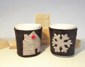 "Cup-warming ""Warm hug little house"" felt"