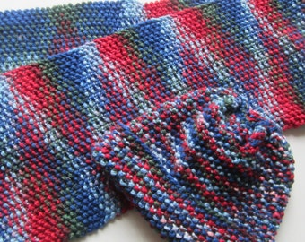 Knitted hat and scarf set, blue, red