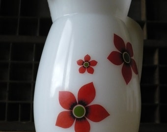 Vintage white water and flowers 70's decanter
