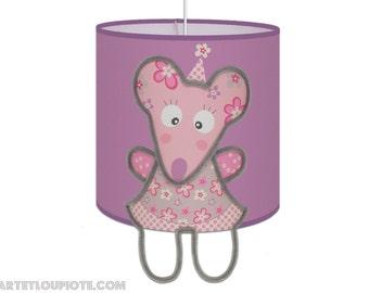 Luminaire Suspension Souris Rose Violine pour éclairer les chambres des fillettes