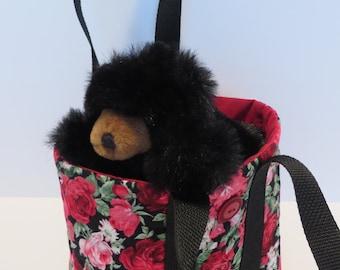 Small TOTE BAG / Rose Tote Bag / Red Tote Bag / Floral Tote Bag - MiniTote104