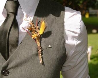 Dried wildflower boutonnière