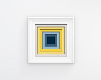 Multi Coloured Art, Instant Download, Geometric Blue Art, Minimalist Art, Contemporary Art, Modern Art Print, Square Wall Art, Blue Wall Art