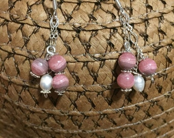 Rhodocrosite and white freshwater pearls, sterling silver dangle earrings