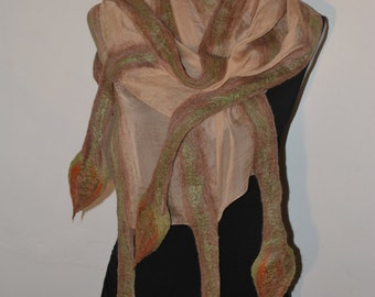 SALE 50 % off Nuno Felted Eco Superfine Merino Wool and Silk/Shiffon Scarf OOAK