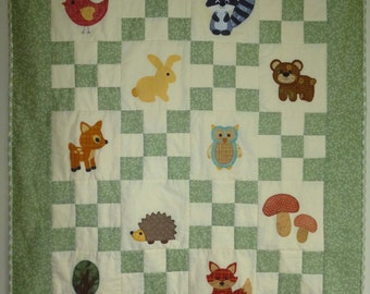 Walk in the Woods Woodland Theme PDF patchwork quilting sewing pattern for cot quilt, childs quilt, baby quilt
