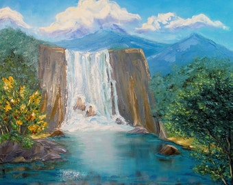 SALE! Original Oil Painting Waterfall Tropics Landscape Impasto oil Gift for her gift for him Home decor palette knife painting kitchen art