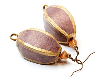 Boho earrings made of wood