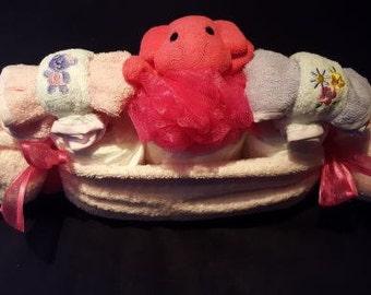 Baby Girls Pea Pod Diaper Basket Set