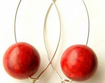 925 Sterling Silver and Red Coral Earrings