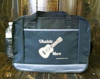 Music bags - Ukulele Tote Bag - Totes - UkuleleMore - Ukulele Accessories Bag - Black on Black, Blue on Black or Red on Black
