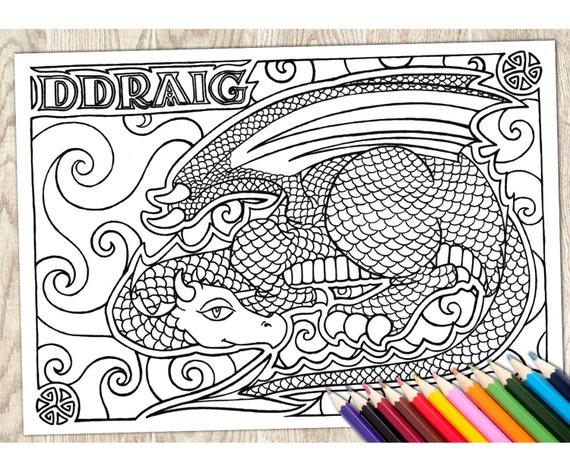 Colouring Page Ddraig Welsh Word Printable Download Adult Coloring Language Wales Dragon Art Therapy Calm Relaxing Creative Pattern From