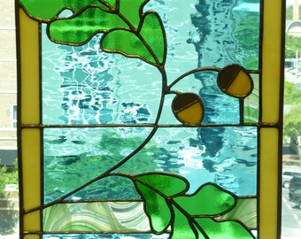 Green Oak Leaves with Acorns Stained Glass Panel