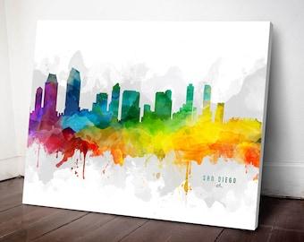 San Diego Skyline Canvas, San Diego Print, San Diego Art, San Diego Gift, San Diego Cityscape, MMR-USCASD05C
