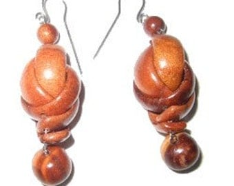 Elegant and sophisticated wooden dangle earrings, 2in, made out of wood. Great Gift!