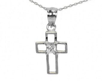 Sterling Silver Princess Cubic Zirconia Cross Pendant