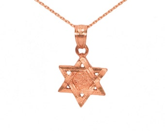 14k Rose Gold Star of David Necklace