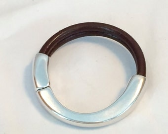 Brown leather & silver cuff