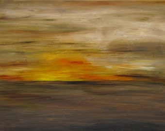 "Sunset, Abstract acrylic painting, 100x70x4 cm (about 39""x28""x1""5/8)"