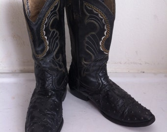 Black men's cowboy boots, made from real ostrich leather, printed ostrich leather, vintage style, western, men's size 9 1/2.