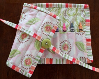 Pink Crayon Roll, Flowers, Pink Flower Crayon Roll Up, Crayon Holder, Green, Girl Crayon Holder, Crayon Tote, Art Supplies, Craft, Moda