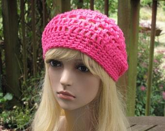 Crochet beret crochet has Sarah pink
