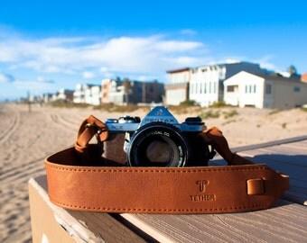 Tan Leather Camera Strap for DSLR or SLR camera, DSLR Camera Strap. Camera accessories. Canon camera strap. Nikon camera strap.