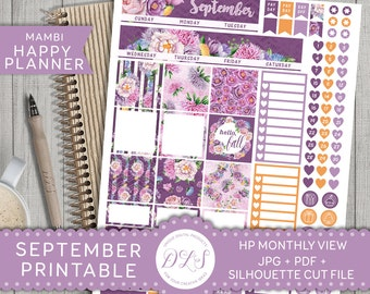 SEPTEMBER Mambi Monthly View Happy Planner Kit Purple Flowers Fall Planner Stickers Mambi Printable Silhouette Cut File JPG PDF Hpmv104
