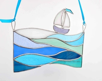 Large 'Bobbing Along' Waves and Sail Boat Nautical Sea Themed Glass Art Suncatcher Sailing Boat  Handmade & Designed by The Glass Sea