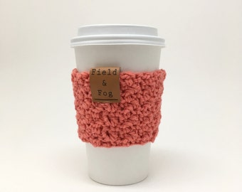 Coffee Cozy, Tea Cozy, Coffee Cup Sleeve, Coral, Pink, Coffee Cup Cover, To Go Cup Sleeve, Cup Cozy, Cup Sleeve,