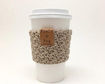 Coffee Cozy, Tea Cozy, Coffee Cup Sleeve, Tan, Light Brown, Neutral, Coffee Cup Cover, To Go Cup Sleeve, Cup Cozy, Cup Sleeve,