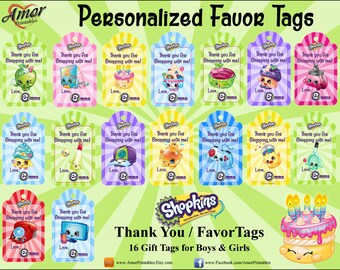 Personalized Shopkins Thank you Favor Gift Tags, Party Printables, Printable Favors, Printable Tags