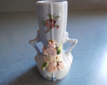 Miniature Vase in Blue with Pink Flowers