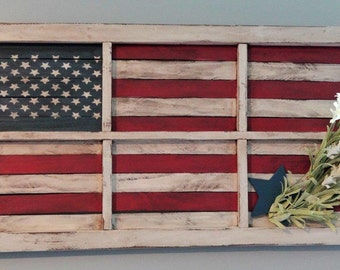 American Flag Window / America / Rustic Flag / Labor Day / Veteran's Day / Memorial Day / Gift / American Flag / 4th of July / Framed Flag