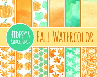 Fall Watercolor Digital Paper / Scrapbooking Paper / Backgrounds - Clip Art for Commercial Use.  Great for Fall / Autumn Scrapbooking!