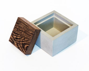 Minimalist Concrete Box with Wenge Cover / Jewelry Box / Mini Gift Box