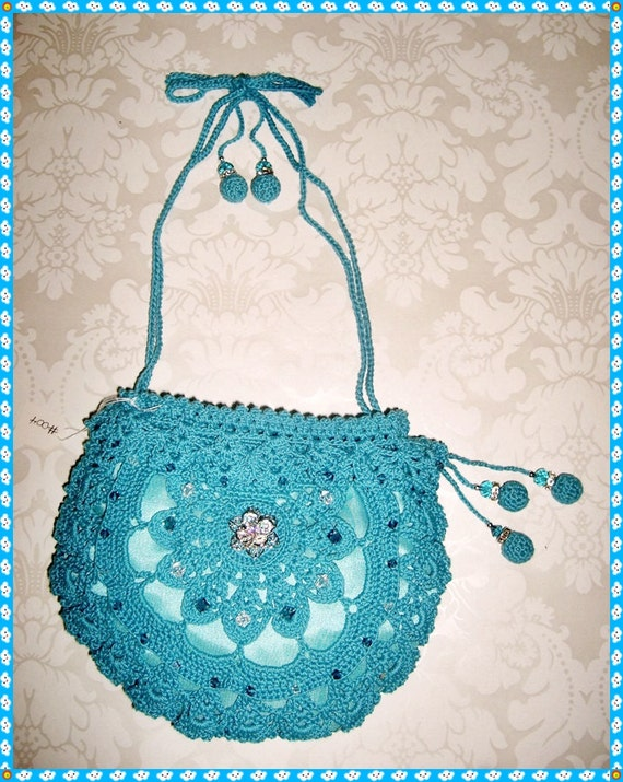 Silk Crochet Evening Bag Clutch Purse Turquoise 004 with