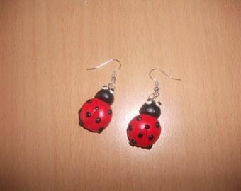 Red Black Ladybug earrings