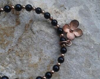 Onyx and rose silver bracelet