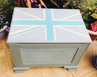 Annie Sloan hand painted Duck Egg Blue Union Jack blanket/toy/storage trunk ottoman.