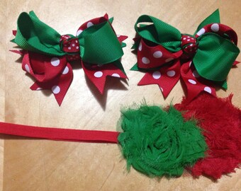 Green and red bows & headband