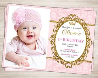 Princess 1st Birthday Invitation. Pink and Gold Girl Princess First Birthday Invitation. Printable Royal Princess Photo Invitation