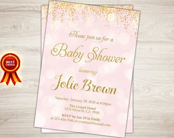 Pink and Gold Baby Shower Invitation. Girl Gold Confetti Baby Girl Shower Invitation. Pink Gold Polka Dots Shower Invite. Printable Digital